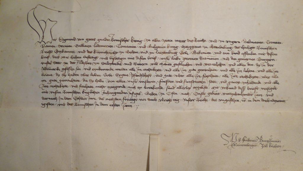 Urkunde König Sigismunds von 1411 für die Altstadt Salzwedel